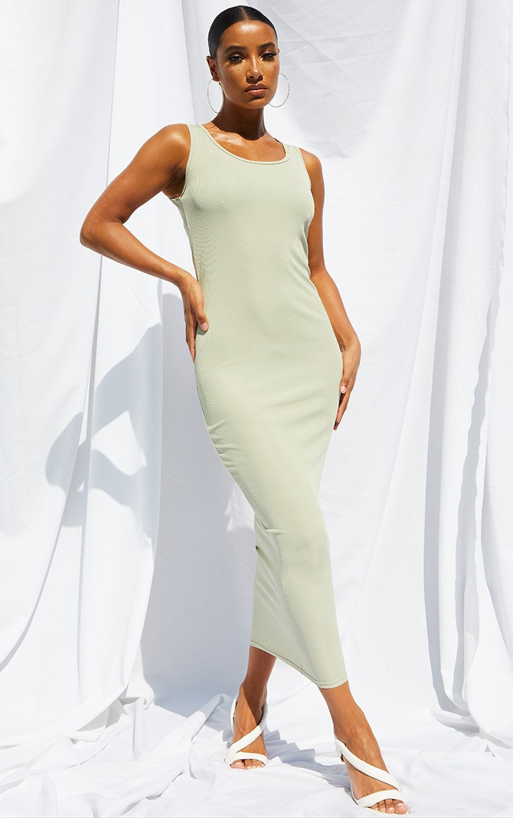 Sage Green Basic Rib Maxi Dress 1