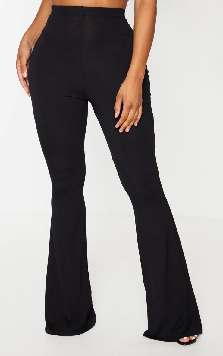 Shape - Pantalon flare en jersey noir à taille haute 2