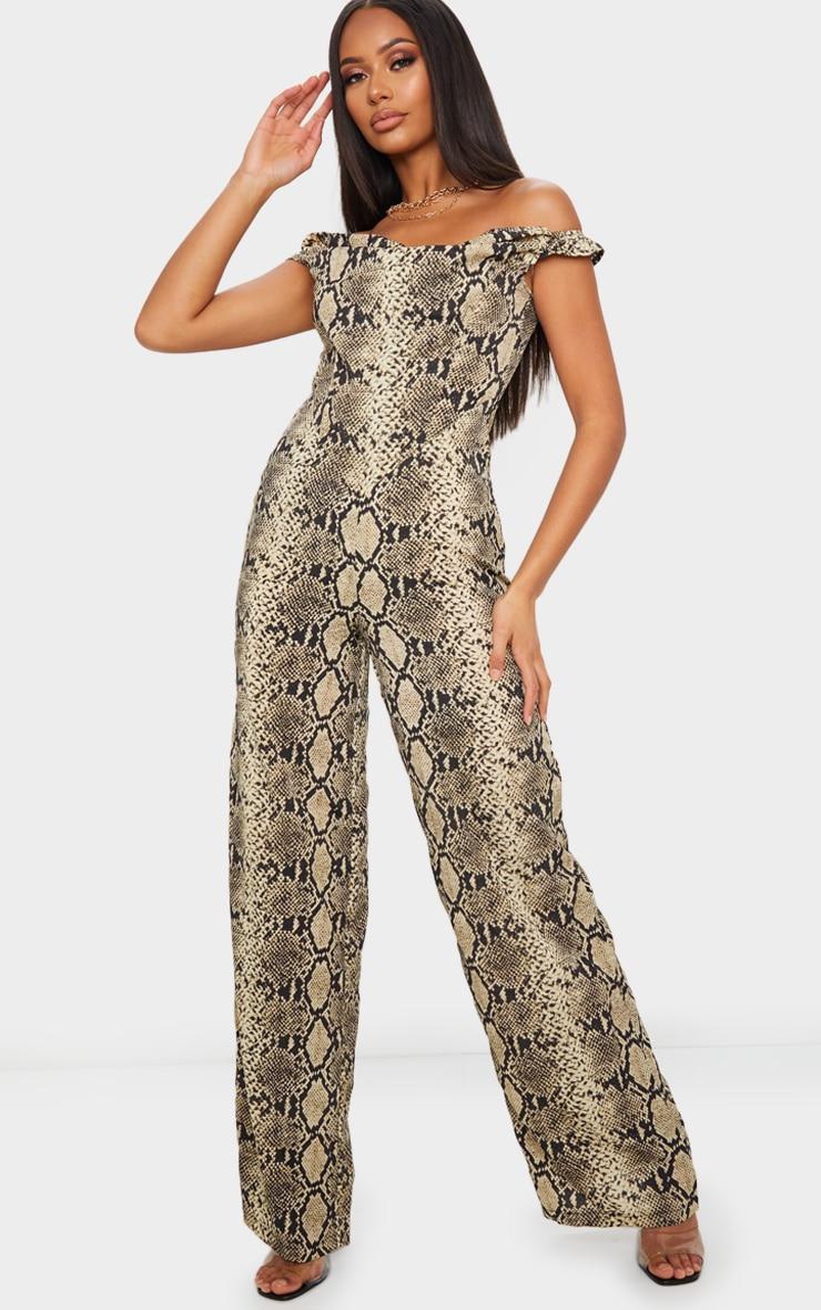 Tan Snake Print Corset Bardot Jumpsuit 1