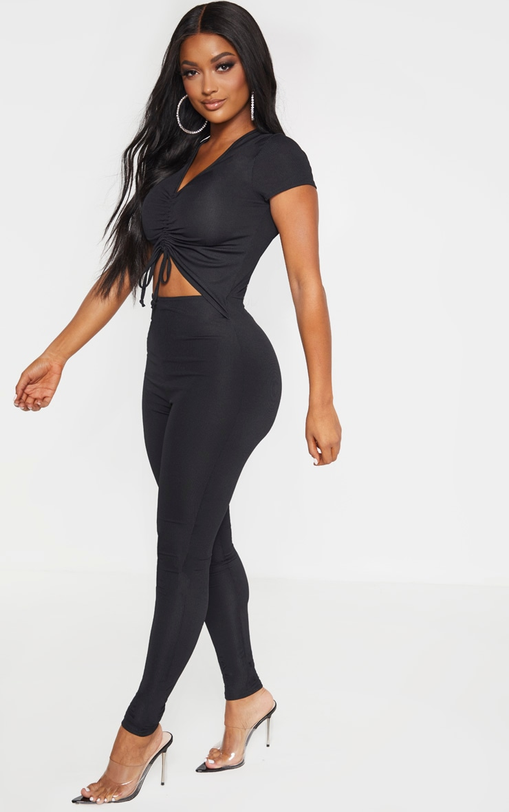 Shape Black Ribbed Ruched Cut Out Jumpsuit 4