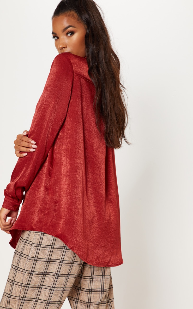 Rust Oversized Satin Shirt 3