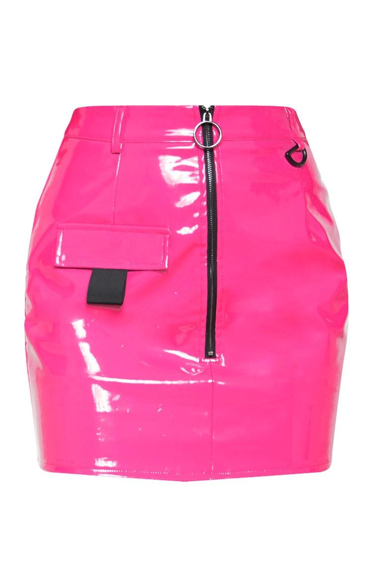 Neon Pink Vinyl Zip Detail Mini Skirt 4