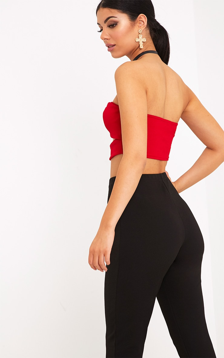 Dassia Red Bow Front Cut Out Bandeau  2