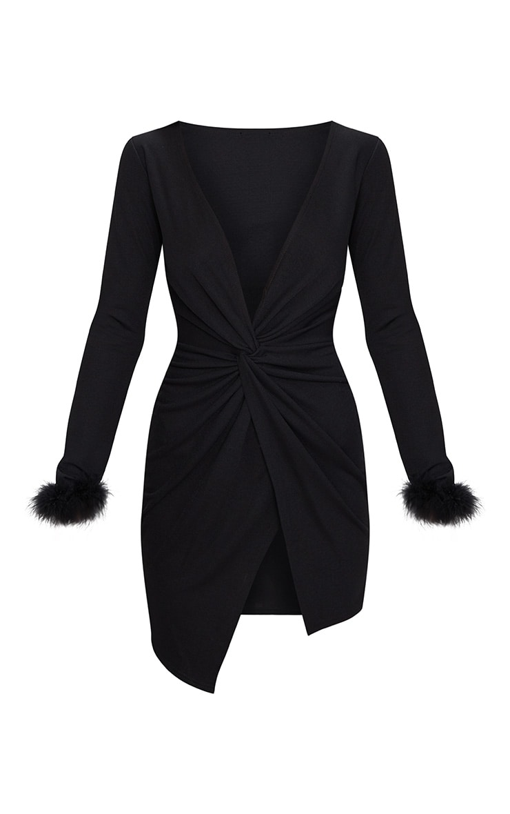 Black Long Sleeve Feather Cuff Wrap Bodycon Dress 3