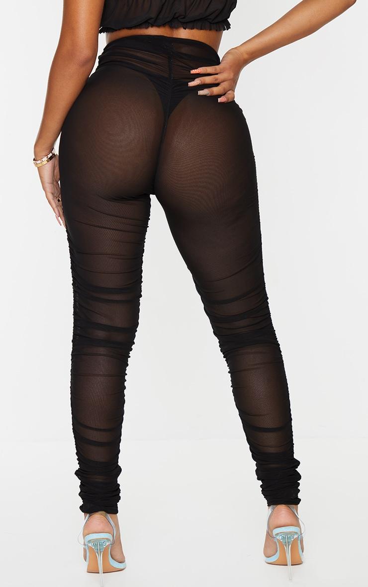 Shape Black Sheer Ruched Mesh Leggings 3