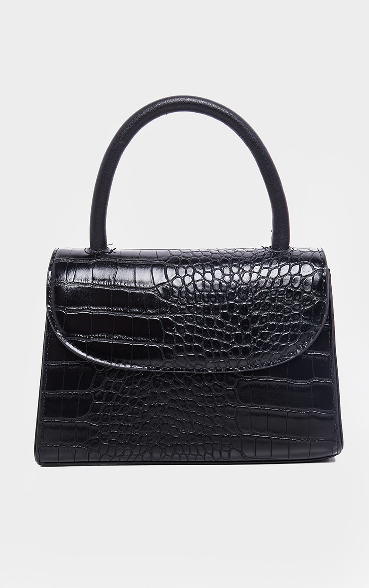 Black Croc Single Handle Cross Body Bag 2