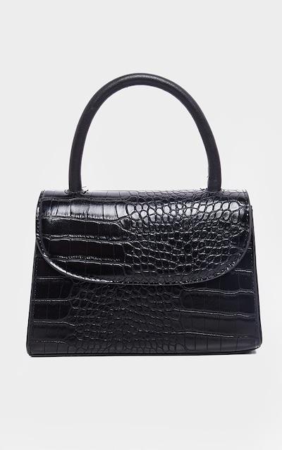 Black Croc Single Handle Cross Body Bag