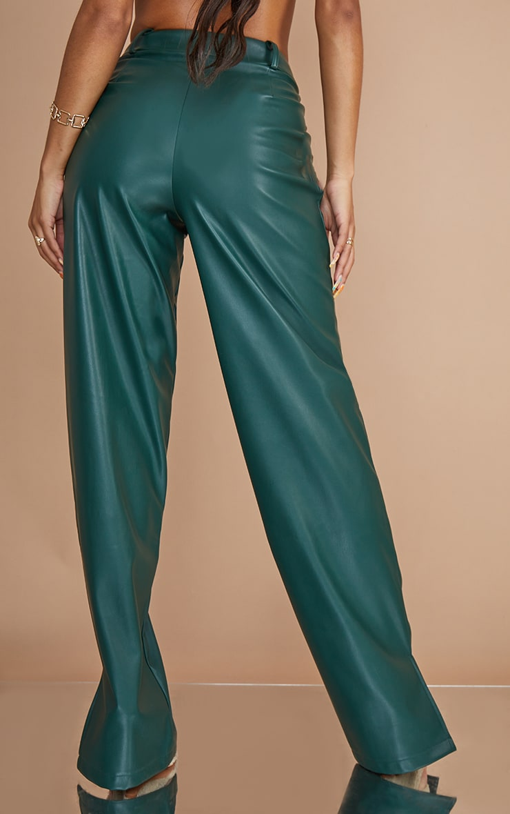Bottle Green Faux Leather Pintuck Detail Straight Leg Trousers 3