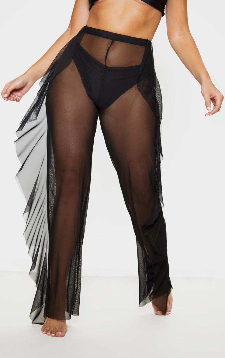 Pantalon de plage noir en mesh volanté  2