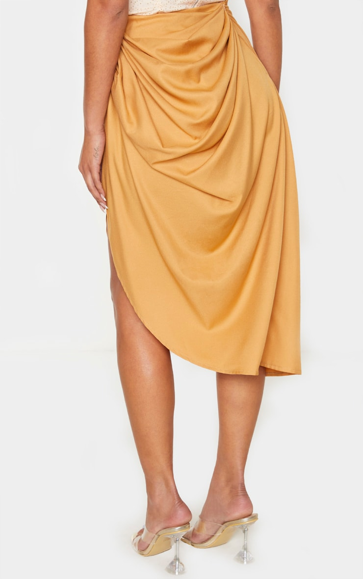 Camel Ruched Side Midi Skirt 4