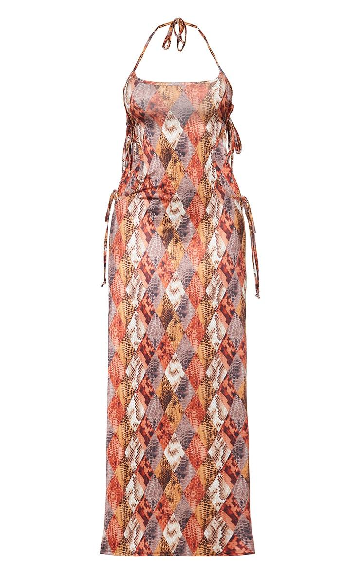 Shape Brown Diamond Snake Print Slinky Tie Side Extreme Split Maxi Dress 5