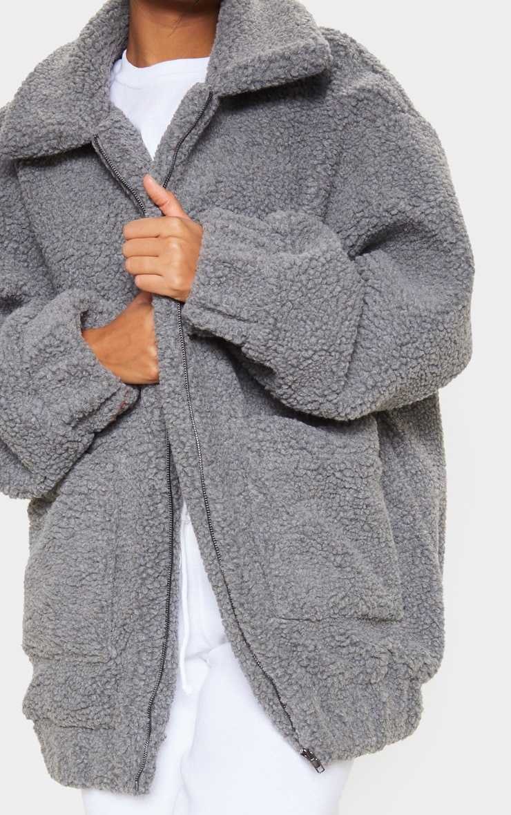 Grey Oversized Borg Pocket Front Coat 6