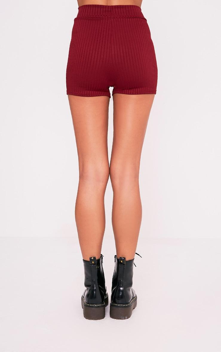 Janice Burgundy Ribbed Shorts 4