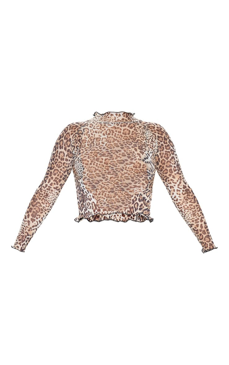Tan Leopard Printed Mesh High Neck Long Sleeve Top 3