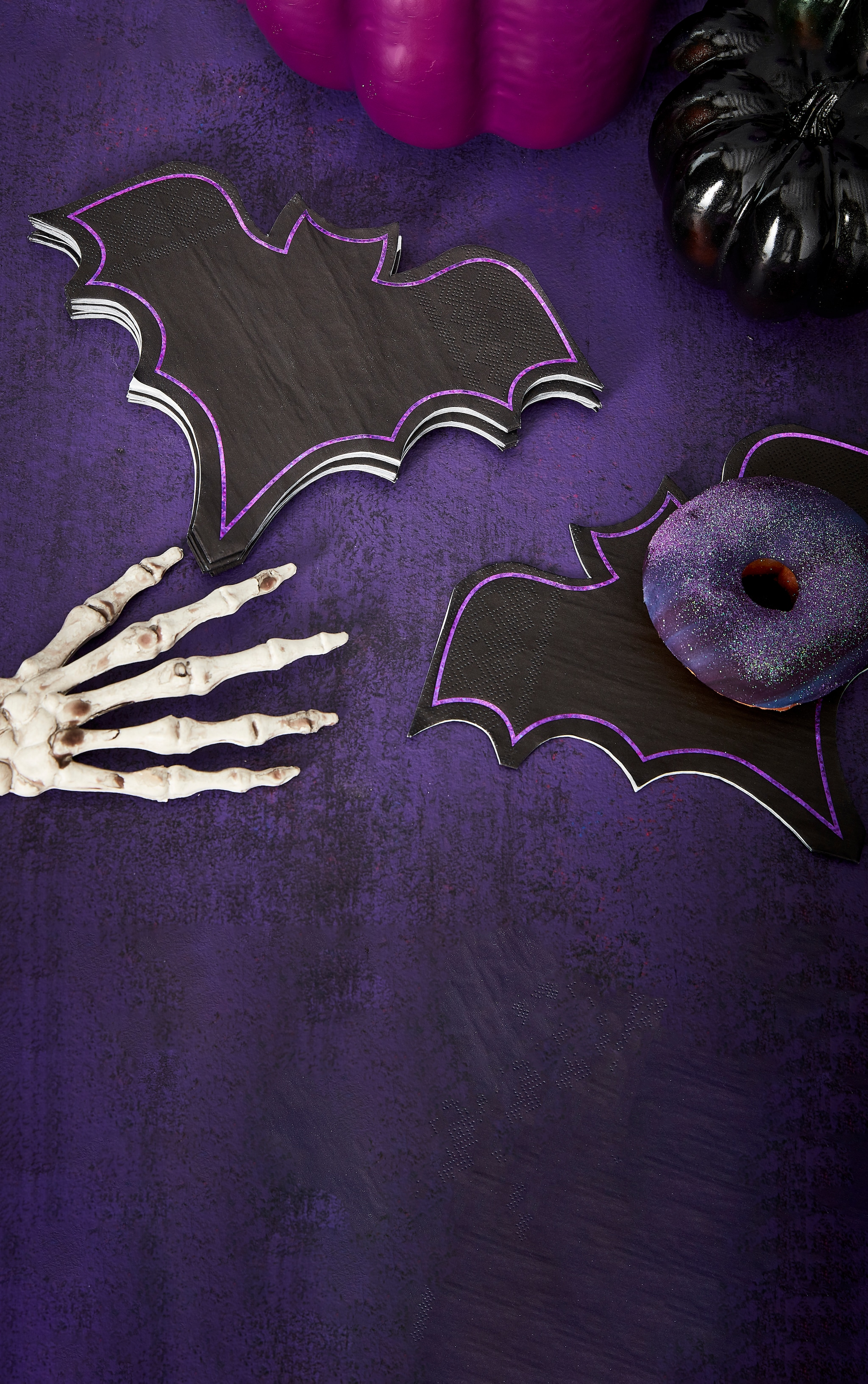 Ginger Ray Paper Napkins Bat Shaped Purple Foil 1