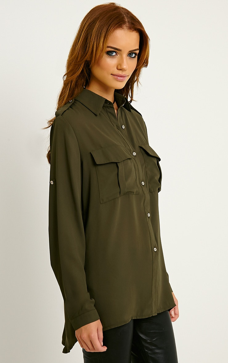 Bethan Khaki Utility Pocket Shirt 4