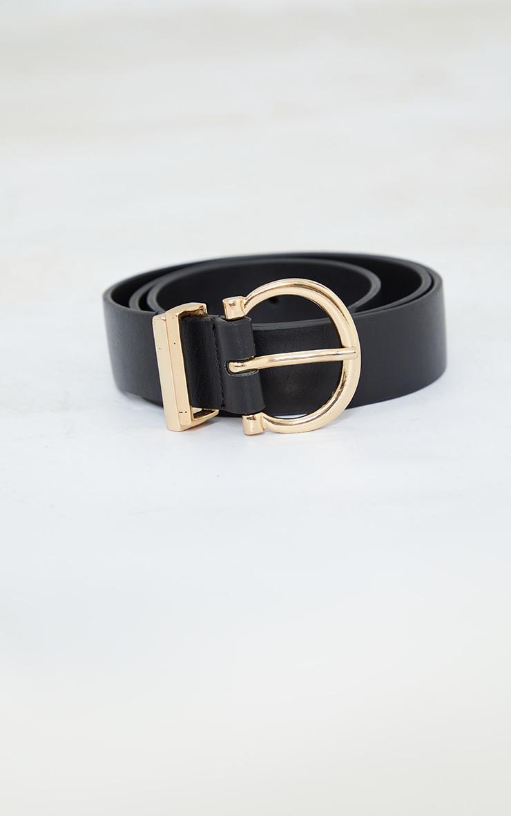 Black PU Gold Horseshoe Buckle Belt 2