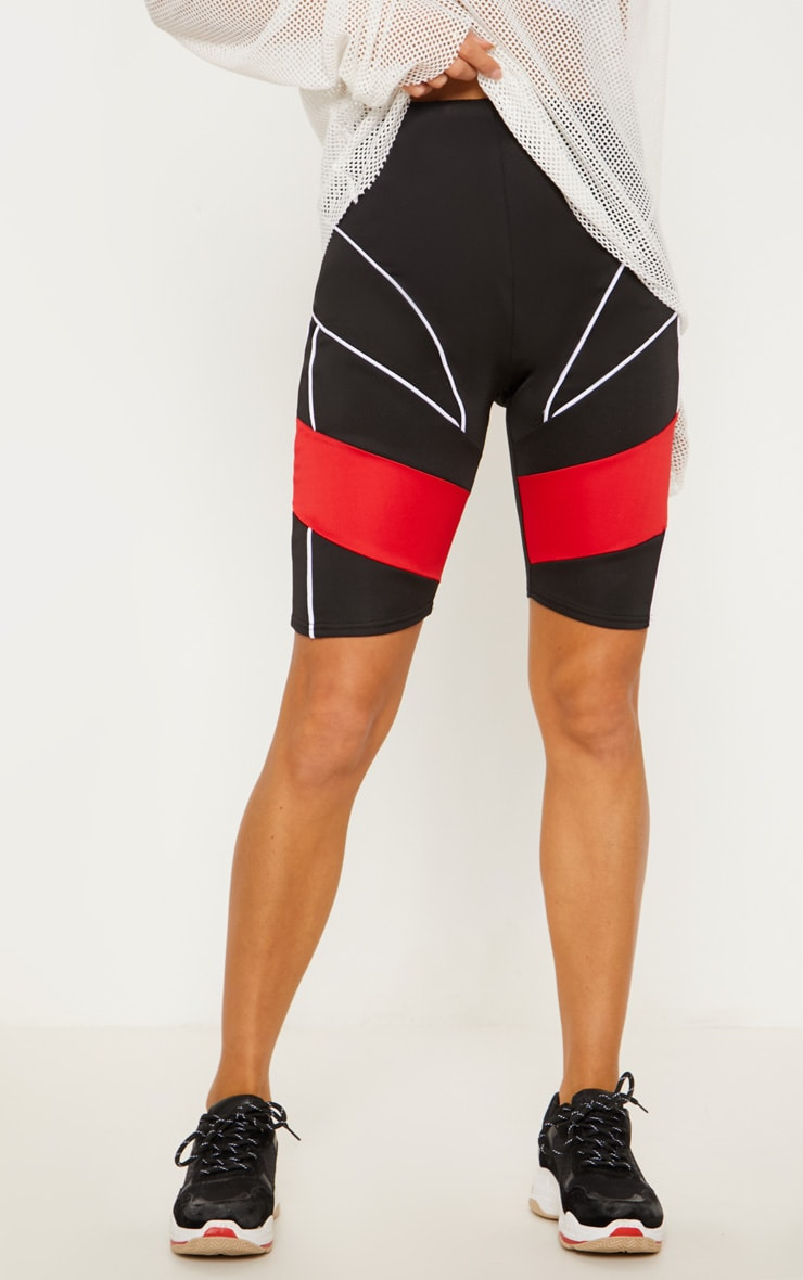 Black Super High Waisted Contrast Binding Cycle Short 3