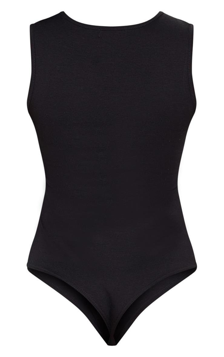 Black High Neck Sleeveless Bodysuit 4