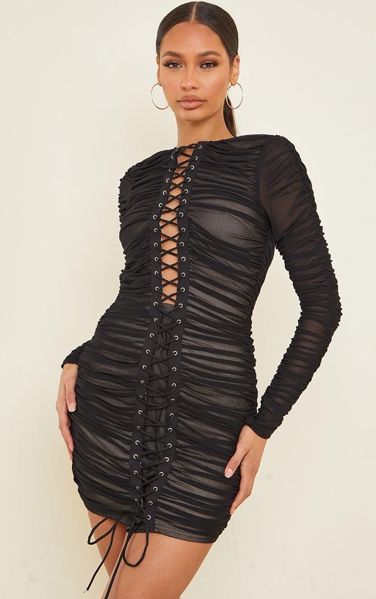 Robe moulante en mesh froncé noir à manches longues et laçage 1