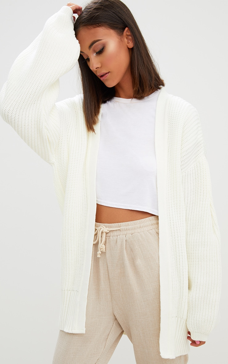 Cream Chunky Long line Knitted Cardigan 1