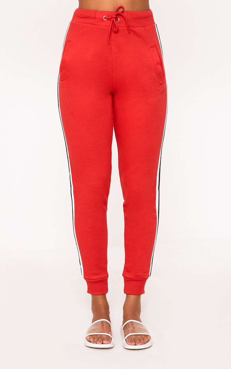 Red Side Stripe Track Pants 2