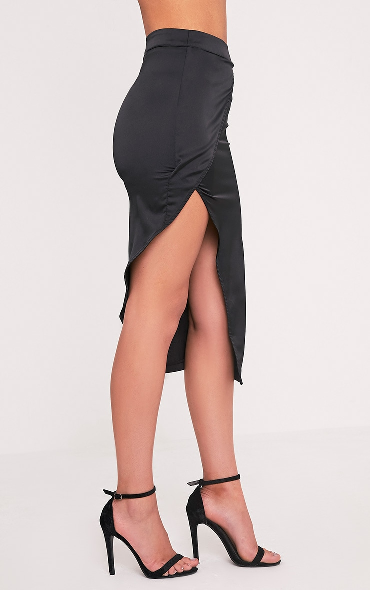 Shreya Black Satin Asymmetric Wrap Skirt  4