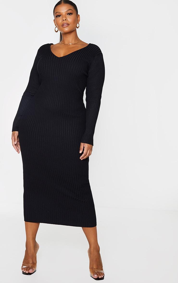 Plus Black Off Shoulder Rib Knitted Midaxi Dress 1