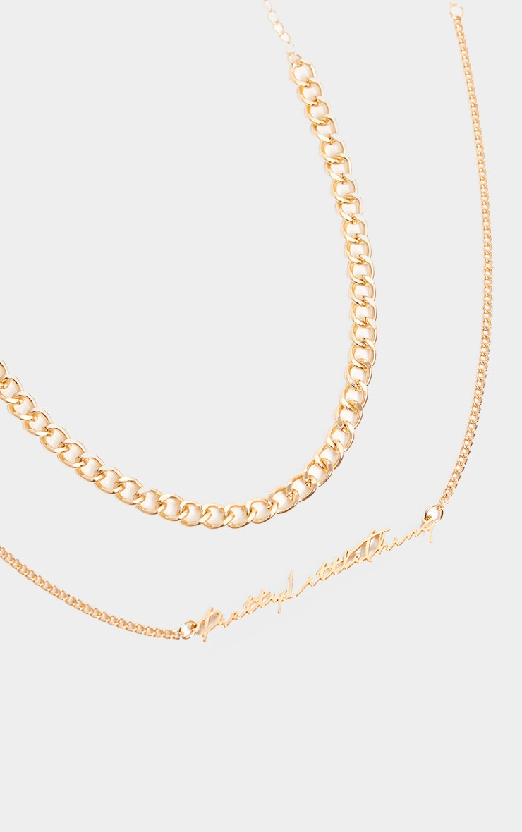 PRETTYLITTLETHING Gold Layering Necklace 1
