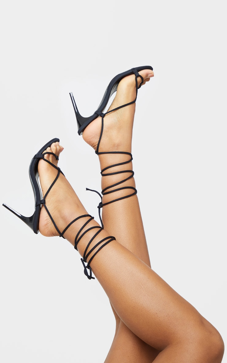 Black Lycra Ghillie Lace Up Sandal 1