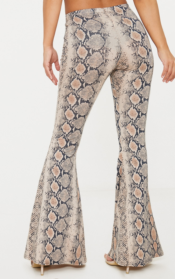 Petite Stone Snake Print Flared Trousers 3