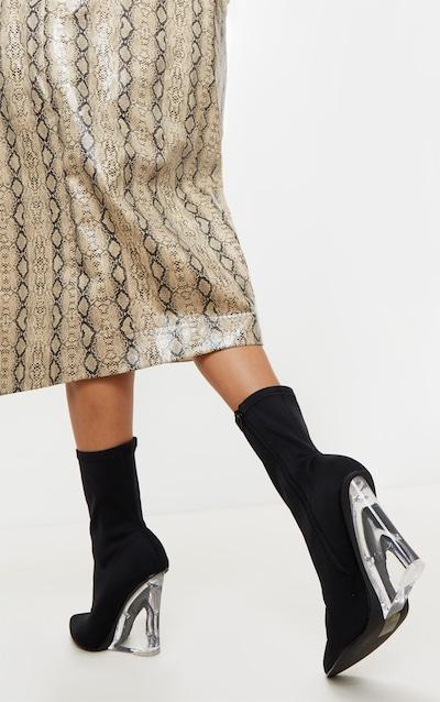 Black Clear Wedge Point Toe Sock Boot