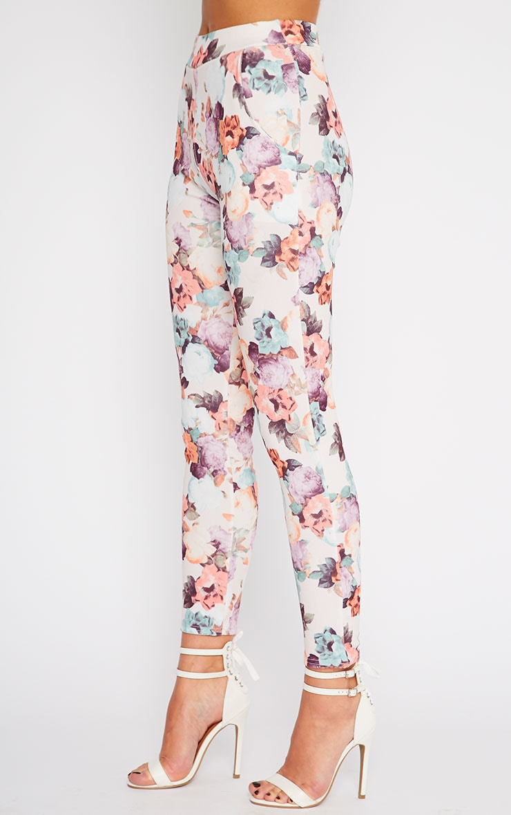 Louisa Cream Floral Print Cigarette Trousers 3