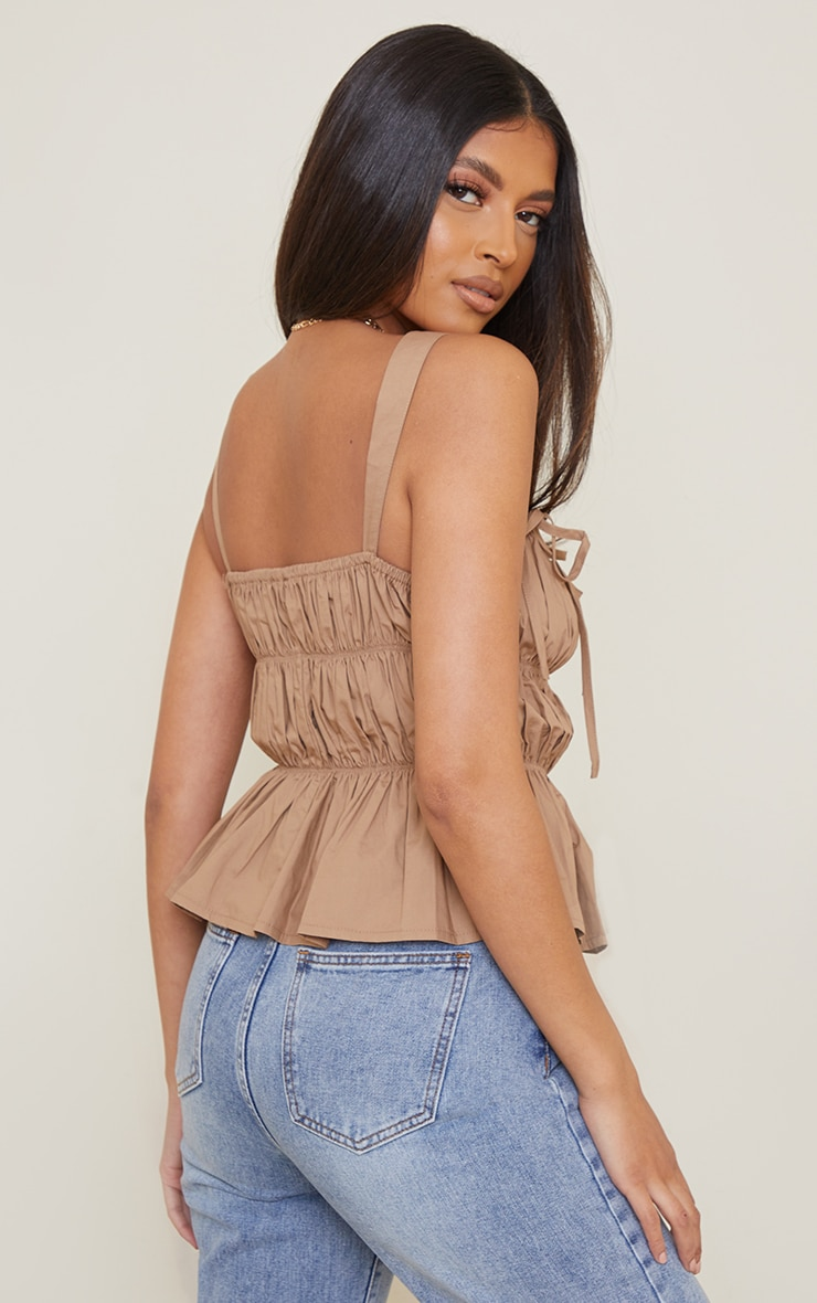 Camel Woven Extreme Ruched Tie Detail Frill Hem Top 2