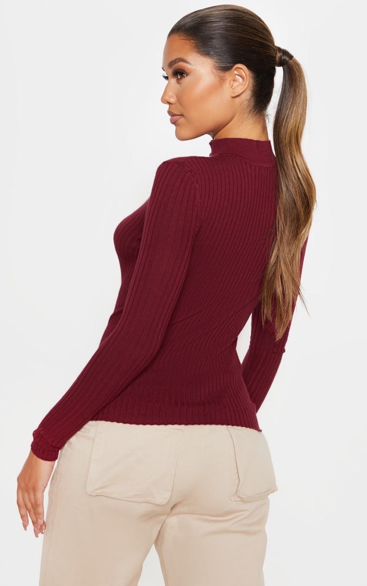 Wine Zip Front Knitted Rib Top 2