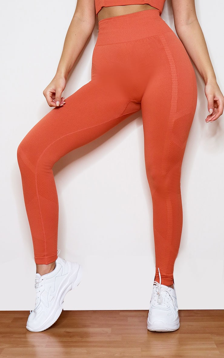 Orange Seamless Gym Leggings 2