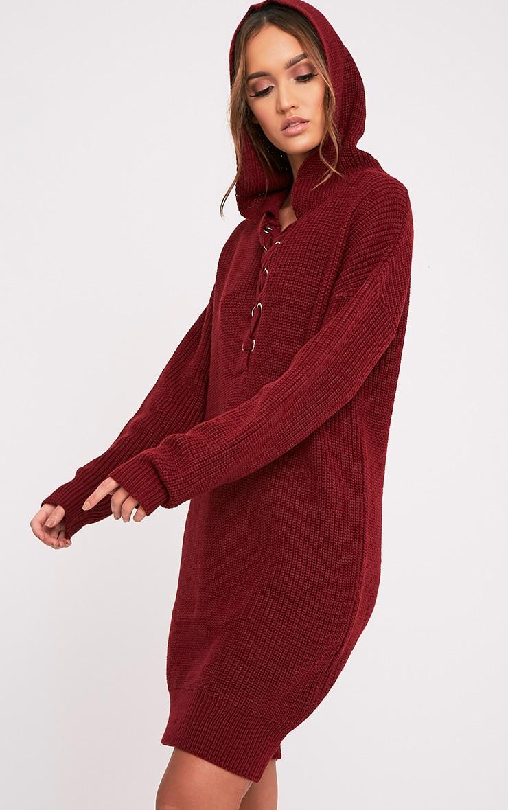 Megaen robe en maille à capuche surdimensionnée rouge foncé 4