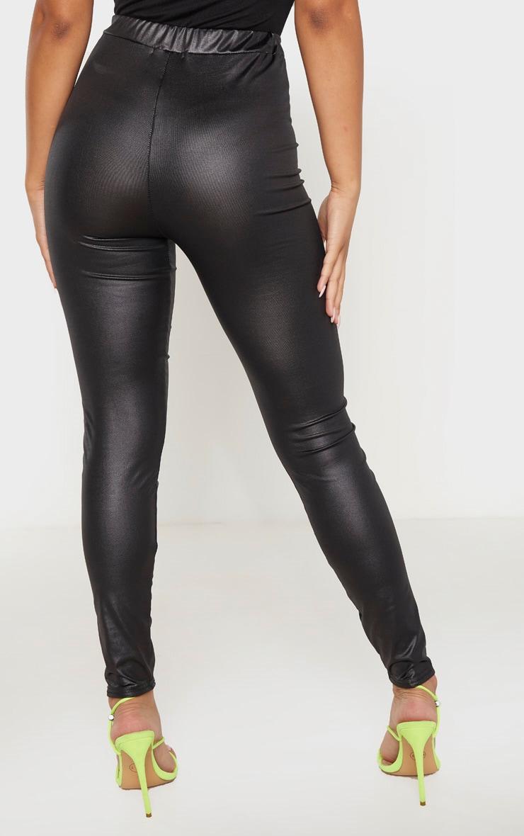Petite Black PU Fitted Leggings 4