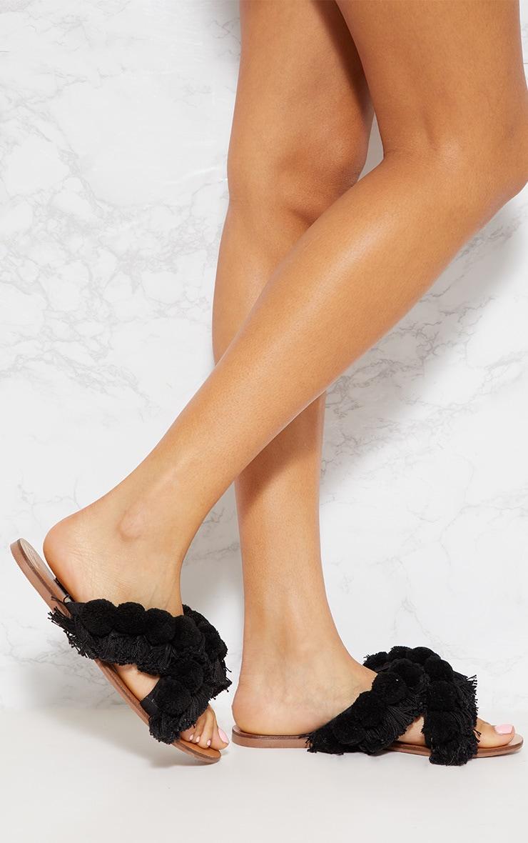 Black Cross Strap Pom Pom Tassel Sandal