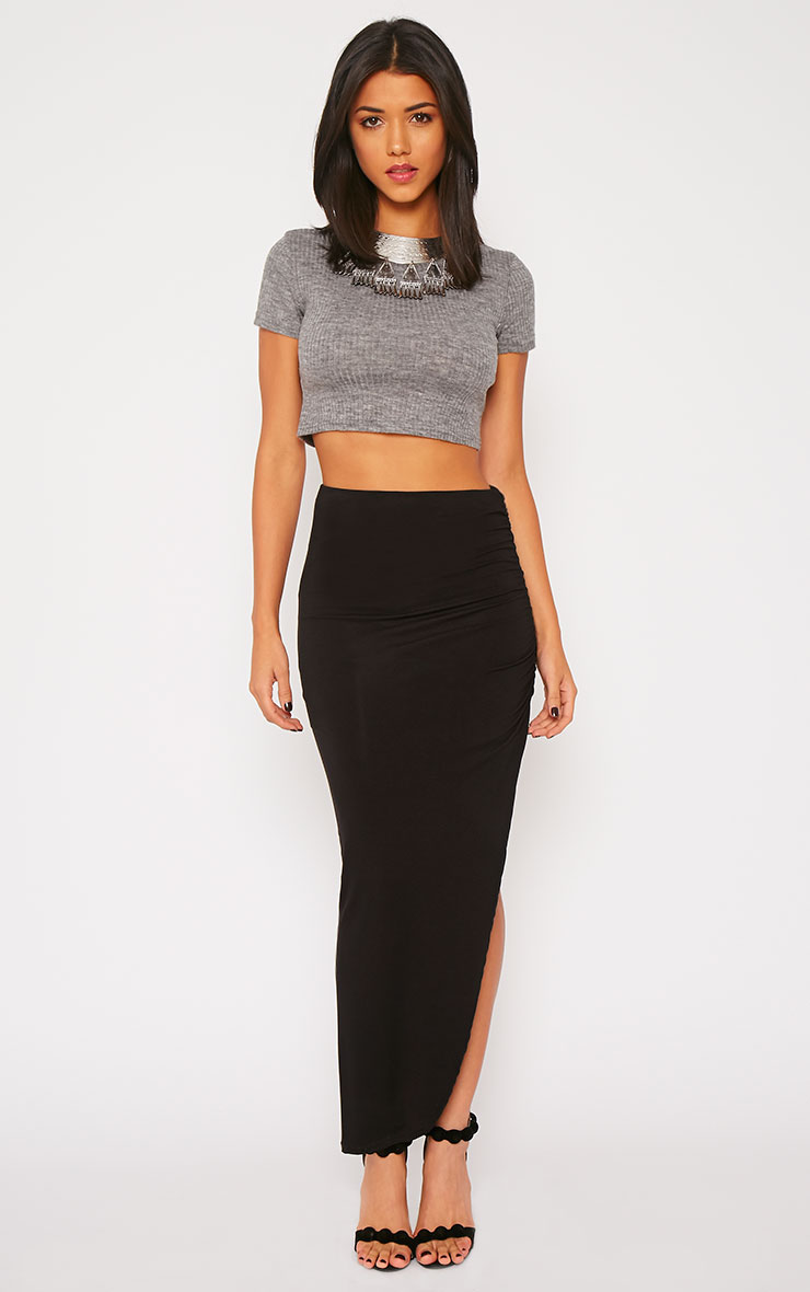 Basic Grey Rib Crop Top 3