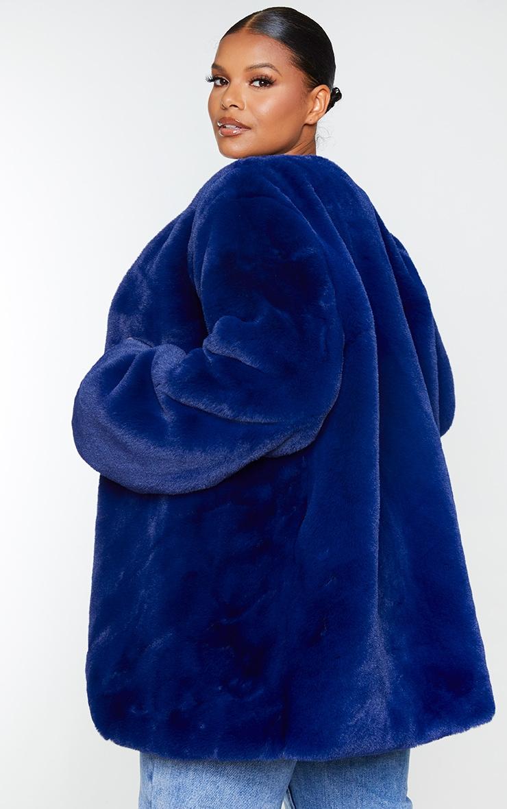 Plus Blue Faux Fur Coat 2