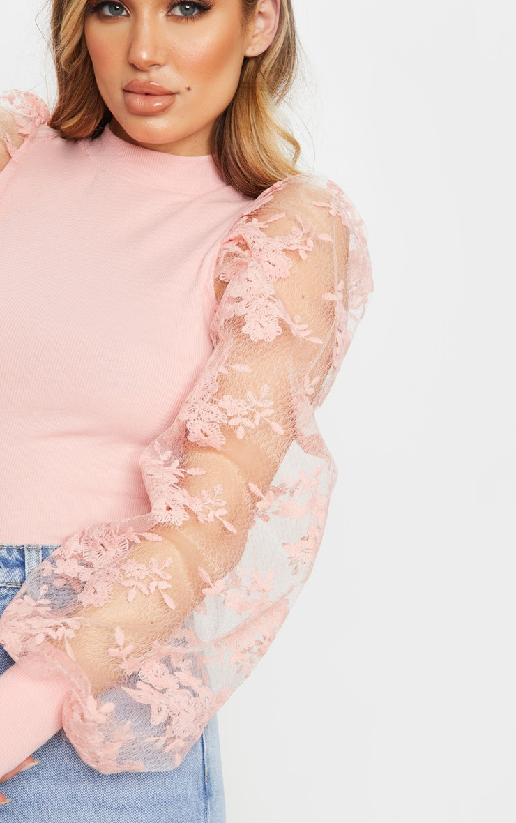Blush Floral Embroidered Puff Sleeve Rib Long Top 4