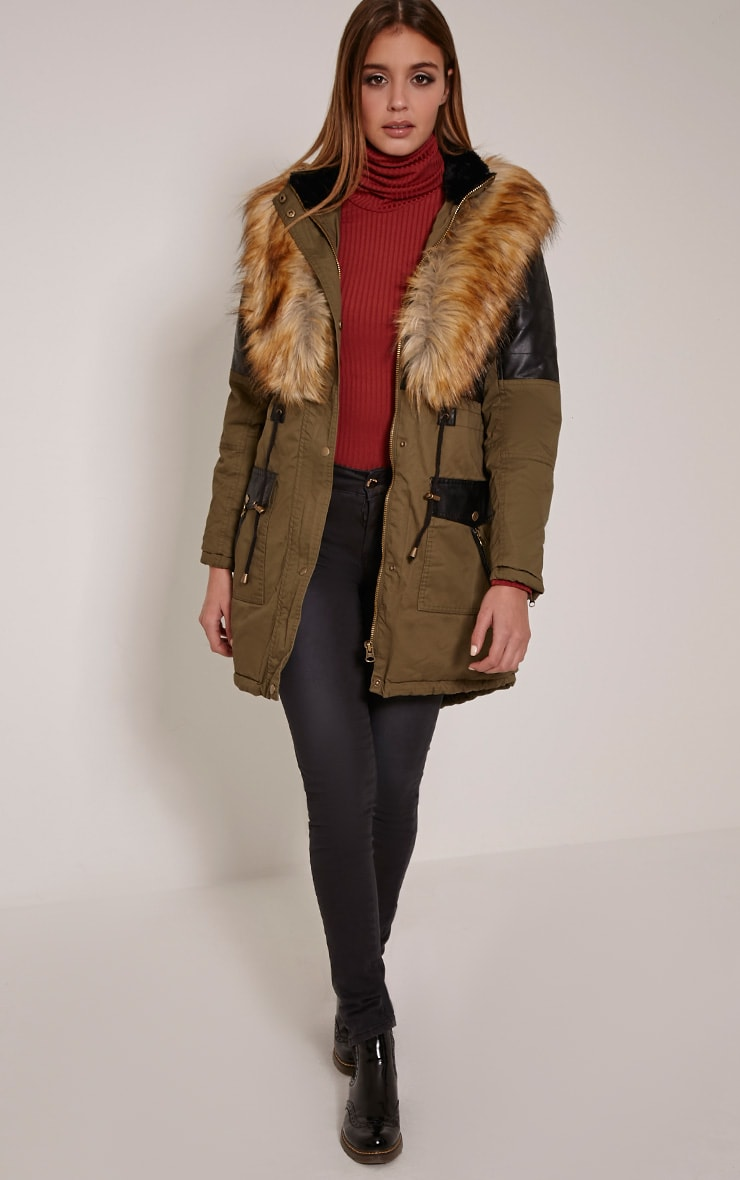 Elanor Khaki PU Panel Fur Collar Parka Jacket 1