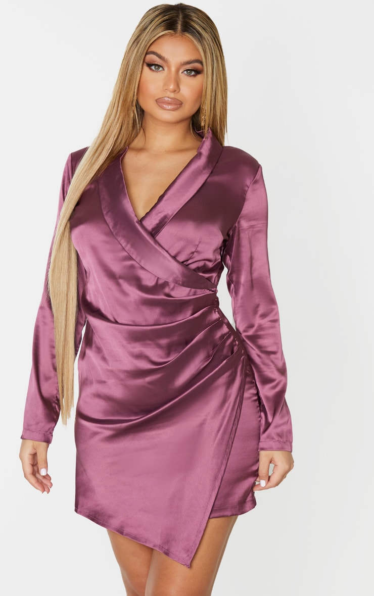 Mauve Satin Ruched Side Long Sleeve Bodycon Dress 1
