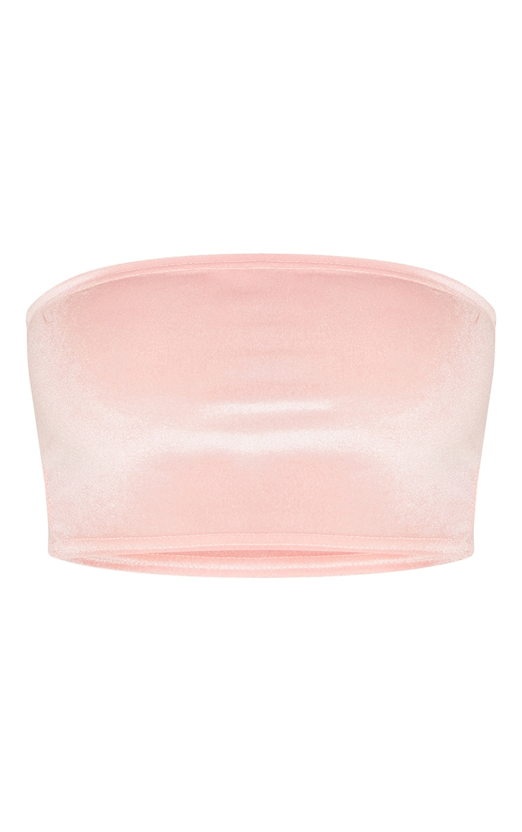 Light Pink Velvet Bandeau Crop Top 3