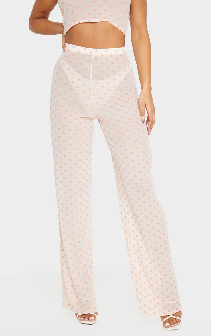 Light Pink Polka Dot Printed High Waist Wide Leg Pants 2