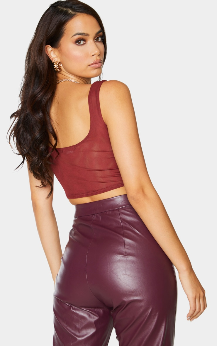 Chocolate Mesh Cupped Crop Top 2