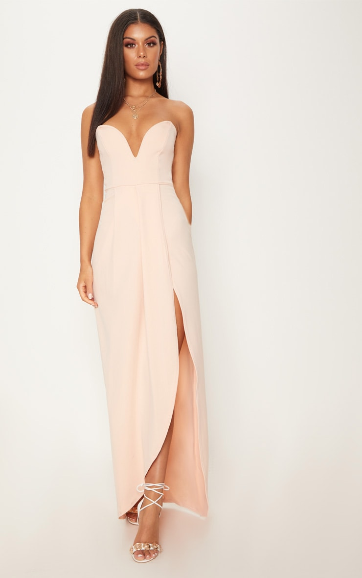 Nude Draped Wrap Detail Bandeau Maxi Dress 1