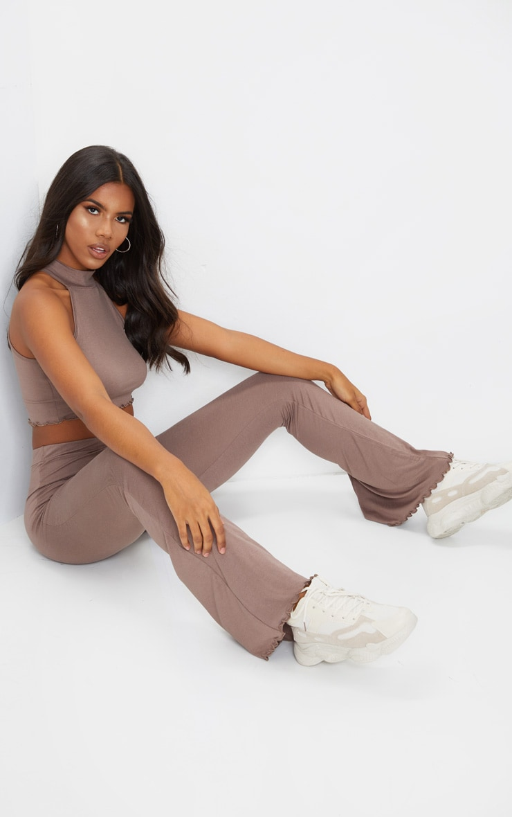 Mocha Jersey High Neck Racer Back Crop Top 3