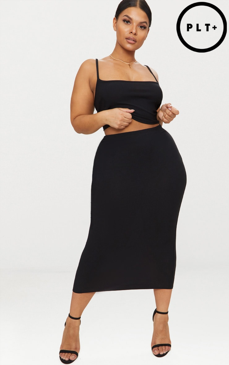 Plus Black Midaxi Skirt